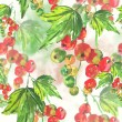 Stock Photo: Seamless watercolor background with red currant