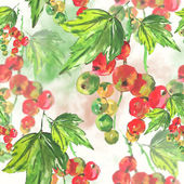 Seamless watercolor background with red currant — Stock Photo