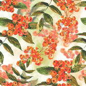 Watercolor seamless background with ash-berry — Stock Photo