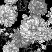 Beautiful Monochrome Seamless Rose Background — Vecteur