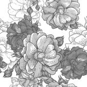 Beautiful Monochrome Seamless Rose Background — Vettoriale Stock