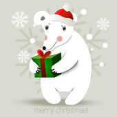 Christmas bear background — Stock Vector