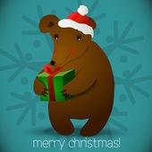 圣诞熊背景 — 图库矢量图片