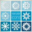 New Year Icons Set with Snowflakes. — Stock Vector