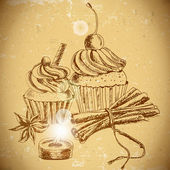 Cupcake on vintage background — Stock Vector