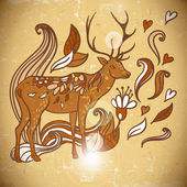 Animal Background pattern with swirls and deer — Stock Vector