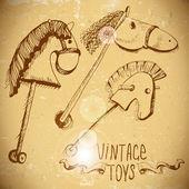 Hölzerne Rocking Pferde — Stockvektor