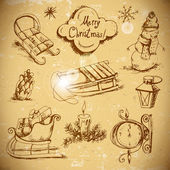 Hand-drawn New Year and Christmas set — Cтоковый вектор
