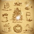 Hand-drawn New Year and Christmas set — Stok Vektör #35570299