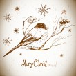 Vector greeting card with bullfinches — Cтоковый вектор