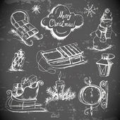 Hand-drawn New Year and Christmas set — Wektor stockowy