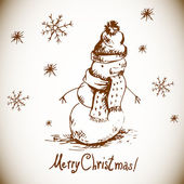 Hand-drawn vintage greeting card with snowman — Stockvector