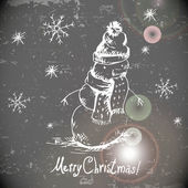 Hand-drawn vintage greeting card with snowman — Cтоковый вектор
