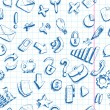 Doodle internet icons seamless background — Image vectorielle