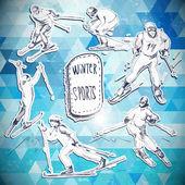 Winter sports, skier scetch — 图库矢量图片