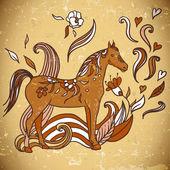 Cavalo com flores e ornamentos — Vetor de Stock