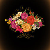 Floral ornament, vintage vignette — Vecteur