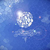 Blue print background with circle flowers — Stockvector