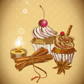 Vintage background with Cupcake and cinnamon — Stock Vector