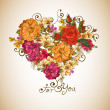 Valentine floral heart — Stock Vector