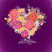 Valentine květinové srdce — Stock vektor