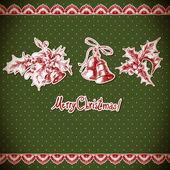 Navidad acebo y campana. fondo vintage — Vector de stock