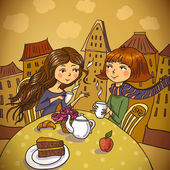 Two young women drinking coffee in cafe — Stock Vector