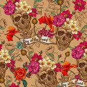 Skull and Flowers Seamless Background — Stock Vector