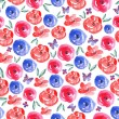 Watercolor Floral Seamless Background — Stok Vektör