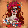 Girl With Sugar Skull, Day of the Dead — Stok Vektör