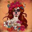 Girl With Sugar Skull, Day of the Dead — Stockvector