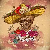 Schedel in sombrero met bloemen dag van de doden — Stockvector