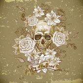 Schedel met rozen dag van de doden — Stockvector