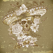 Skull in sombrero with flowers Day of The Dead — Stock Vector