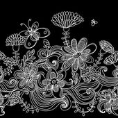 Seamless monochrome floral background — Cтоковый вектор