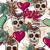 Skull, Hearts and Flowers Seamless Background — Stock Vector