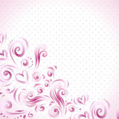 Abstract floral background with hearts in pink — Stock vektor