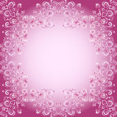 Abstract floral background with hearts in pink — Stock Vector