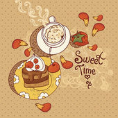 Sweet Time Vector Illustration — Stock Vector