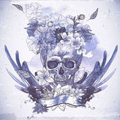 Abstract Background with Skull, Wings and Flowers — ストックベクタ