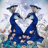 Tavus kuşu ile çiçek arka plan — Stok Vektör