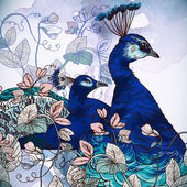 Floral Background with Peacock — Cтоковый вектор