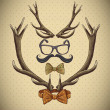 Hipster vintage background with deer antlers — Stock Vector #41652515