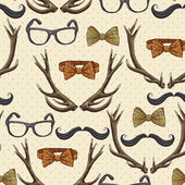 Seamless hipster vintage background with antlers — Stock Vector