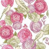 Rose nahtlose hintergrund mit vögeln — Stockvektor