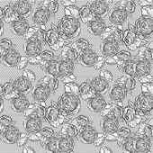 Vintage monochrome roses pattern with lace — Stock Vector