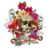 Schedel en bloemen vector illustratie — Stockvector
