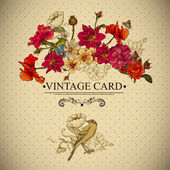 Vintage Floral Card with Birds and Butterflies. — Stock Vector