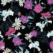 Beau fond floral vintage sans soudure — Vecteur
