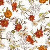 Krásné bezproblémové ročník květinové pozadí — Stock vektor